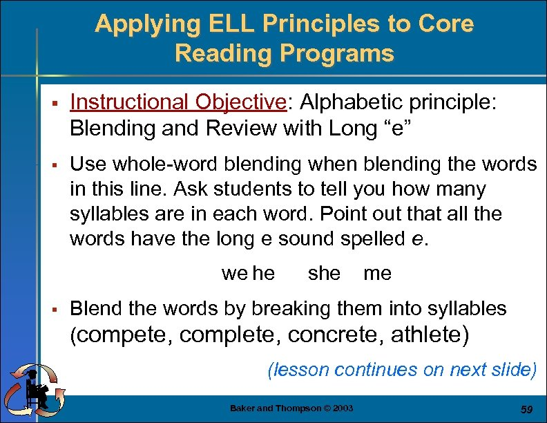 Applying ELL Principles to Core Reading Programs § Instructional Objective: Alphabetic principle: Blending and