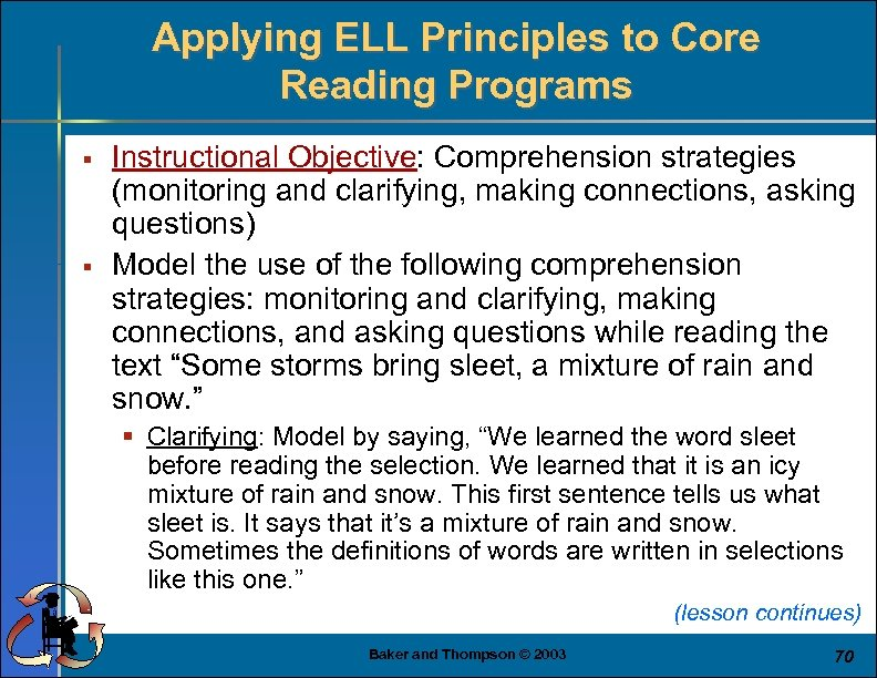 Applying ELL Principles to Core Reading Programs § § Instructional Objective: Comprehension strategies (monitoring