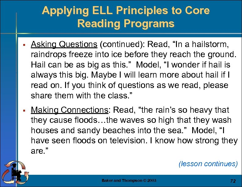 """Applying ELL Principles to Core Reading Programs § Asking Questions (continued): Read, """"In a"""