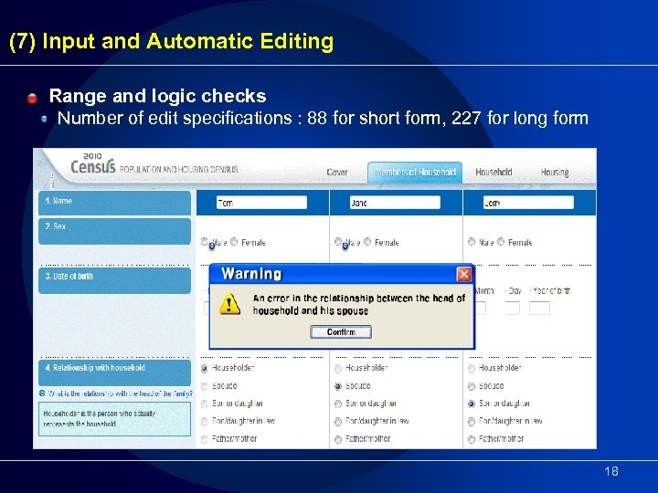 (7) Input and Automatic Editing Range and logic checks Number of edit specifications :