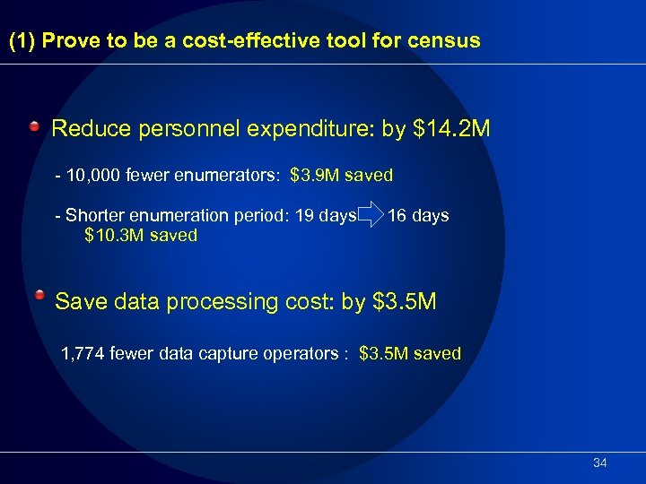 (1) Prove to be a cost-effective tool for census Reduce personnel expenditure: by $14.
