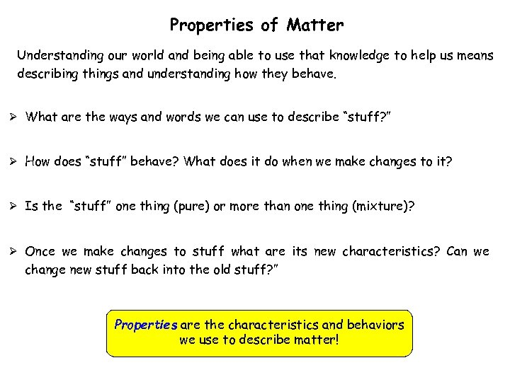 Properties of Matter Understanding our world and being able to use that knowledge to