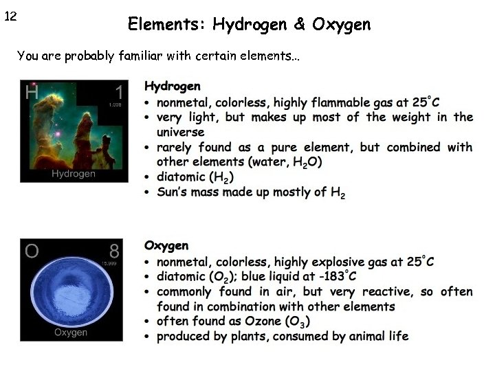 12 Elements: Hydrogen & Oxygen You are probably familiar with certain elements…