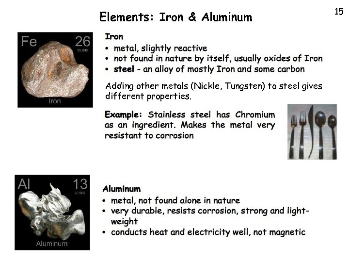 Elements: Iron & Aluminum Adding other metals (Nickle, Tungsten) to steel gives different properties.