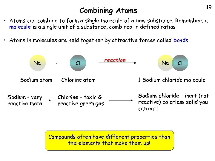 19 Combining Atoms • Atoms can combine to form a single molecule of a