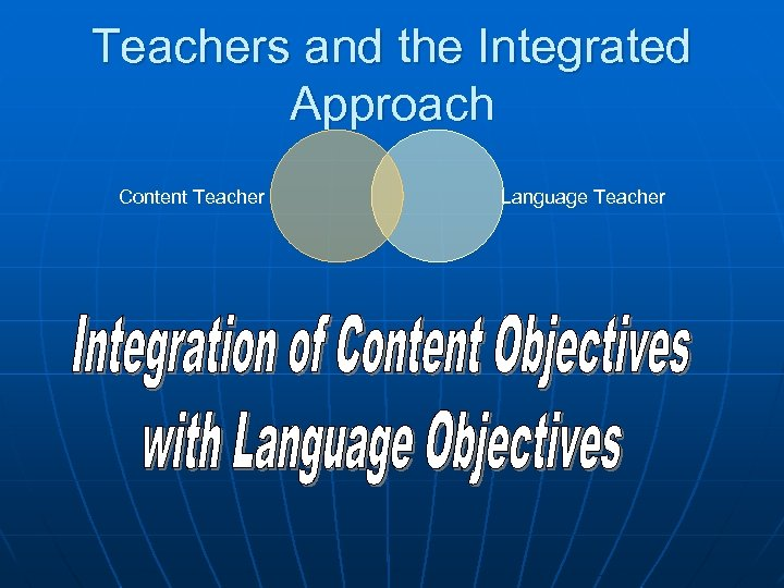 Teachers and the Integrated Approach Content Teacher Language Teacher