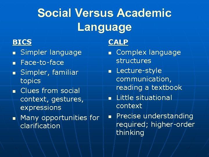 Social Versus Academic Language BICS n Simpler language n Face-to-face n Simpler, familiar topics