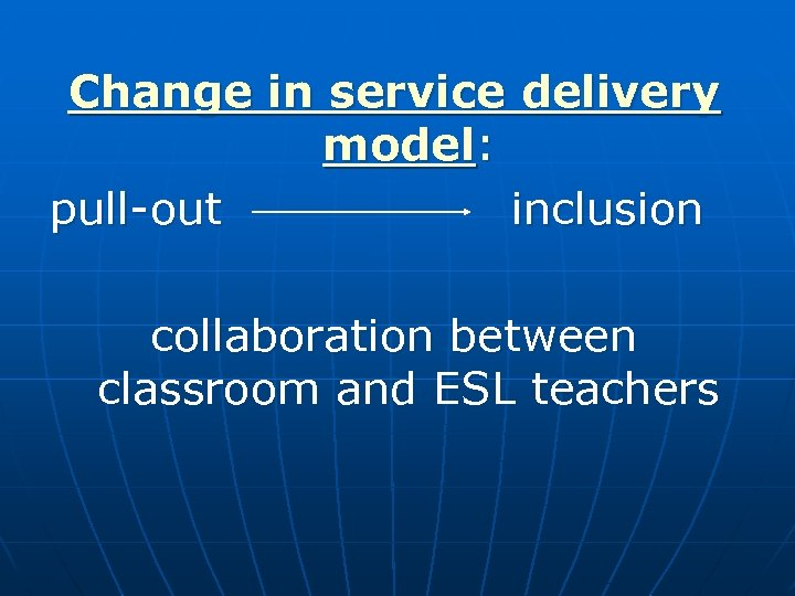 Change in service delivery model: pull-out inclusion collaboration between classroom and ESL teachers