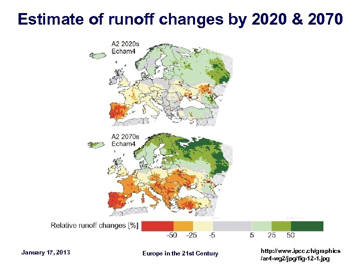 Estimate of runoff changes by 2020 & 2070 January 17, 2013 Europe in the