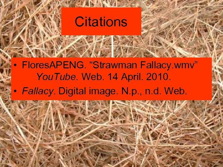 "Citations • Flores. APENG. ""Strawman Fallacy. wmv"" You. Tube. Web. 14 April. 2010. •"