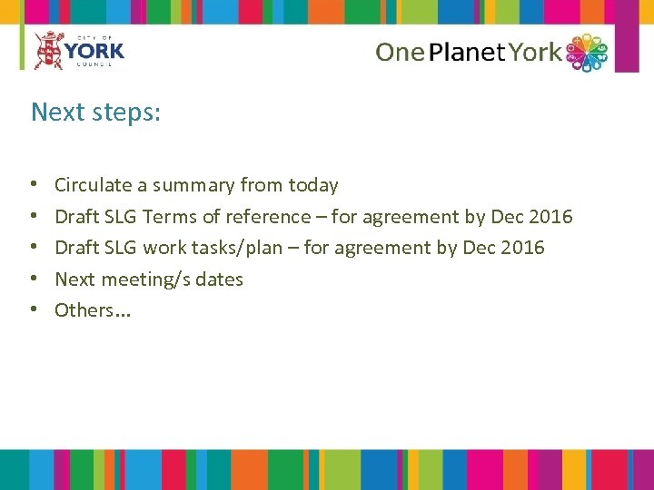 Next steps: • • • Circulate a summary from today Draft SLG Terms of