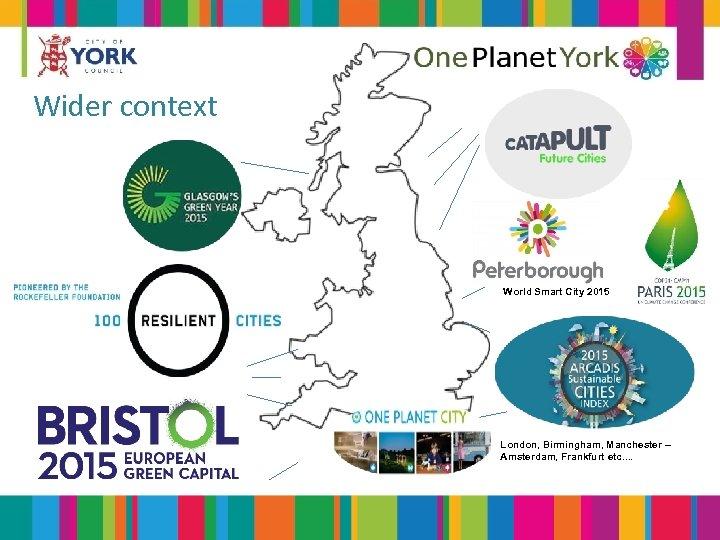 Wider context World Smart City 2015 London, Birmingham, Manchester – Amsterdam, Frankfurt etc. .
