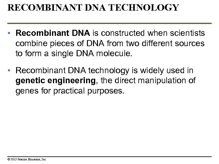 RECOMBINANT DNA TECHNOLOGY • Recombinant DNA is constructed when scientists combine pieces of DNA
