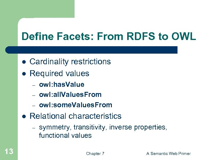 Define Facets: From RDFS to OWL l l Cardinality restrictions Required values – –
