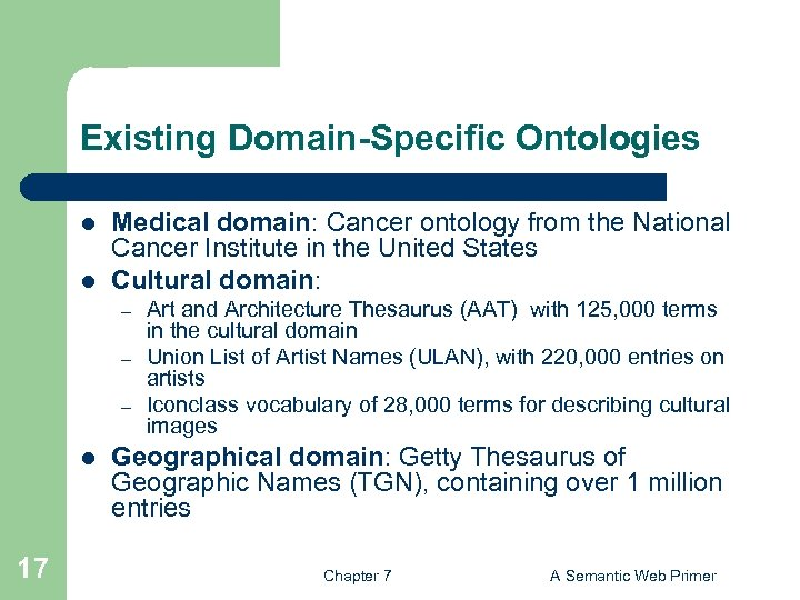 Existing Domain-Specific Ontologies l l Medical domain: Cancer ontology from the National Cancer Institute