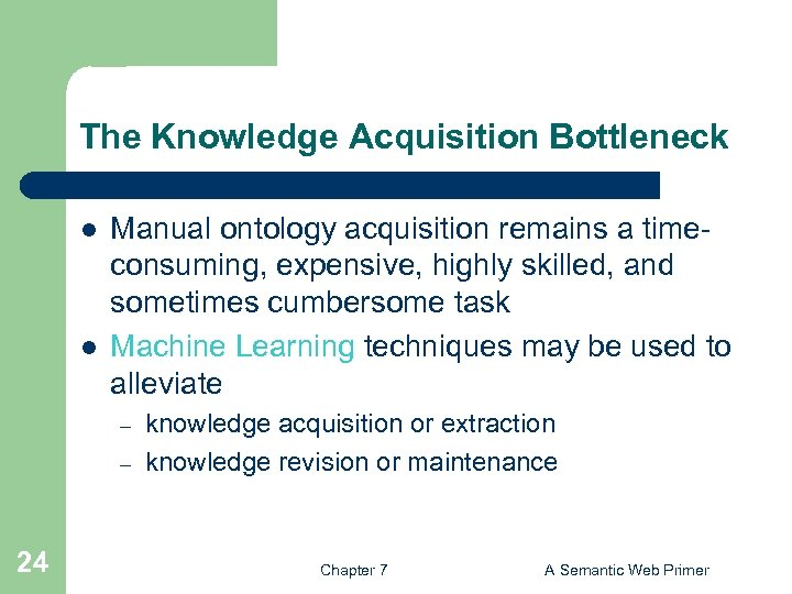 The Knowledge Acquisition Bottleneck l l Manual ontology acquisition remains a timeconsuming, expensive, highly