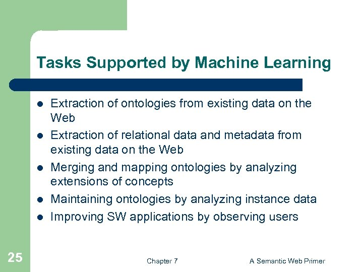 Tasks Supported by Machine Learning l l l 25 Extraction of ontologies from existing