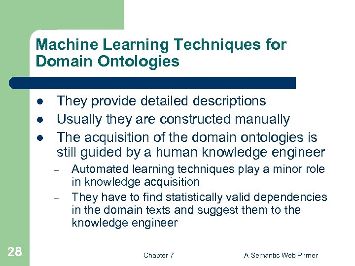 Machine Learning Techniques for Domain Ontologies l l l They provide detailed descriptions Usually
