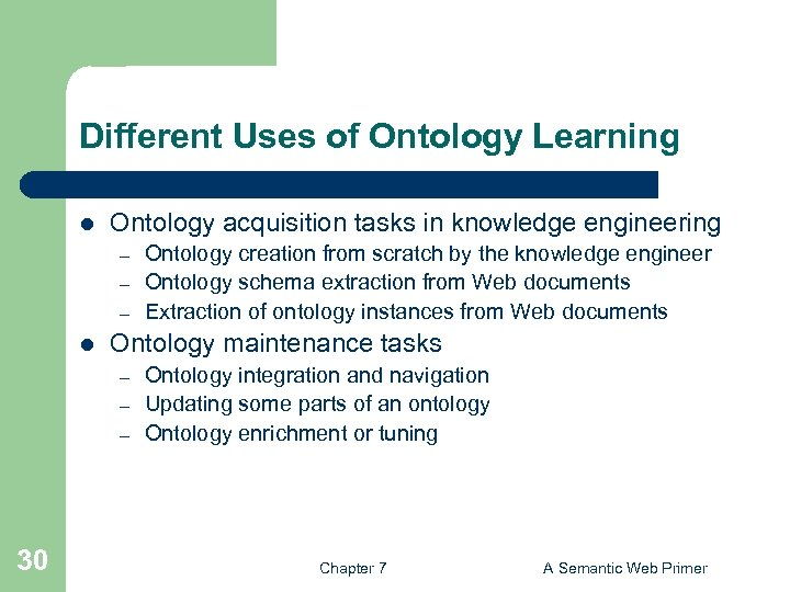 Different Uses of Ontology Learning l Ontology acquisition tasks in knowledge engineering – –