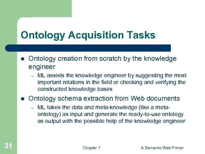 Ontology Acquisition Tasks l Ontology creation from scratch by the knowledge engineer – l