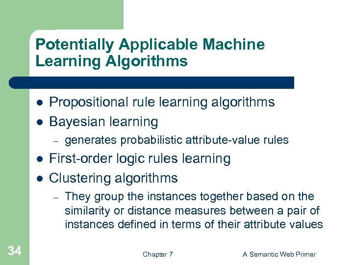 Potentially Applicable Machine Learning Algorithms l l Propositional rule learning algorithms Bayesian learning –