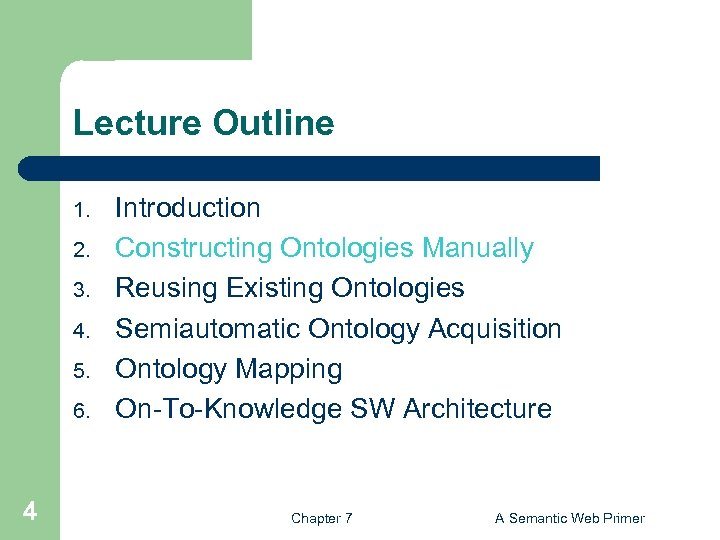 Lecture Outline 1. 2. 3. 4. 5. 6. 4 Introduction Constructing Ontologies Manually Reusing