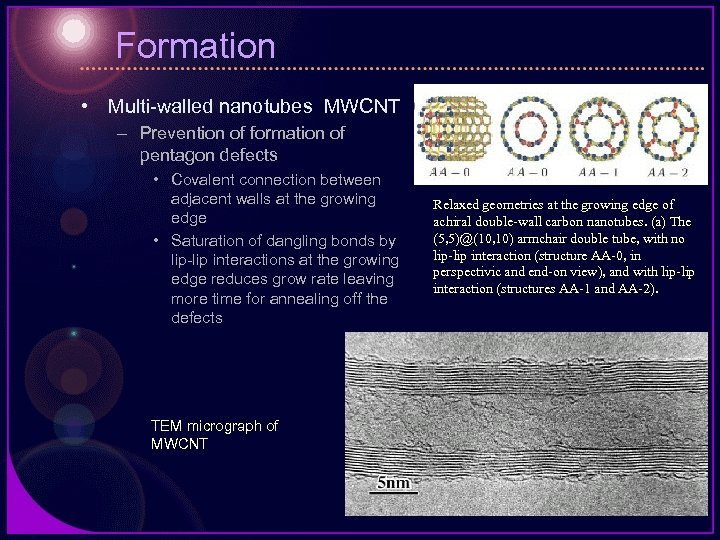 Formation • Multi-walled nanotubes MWCNT – Prevention of formation of pentagon defects • Covalent