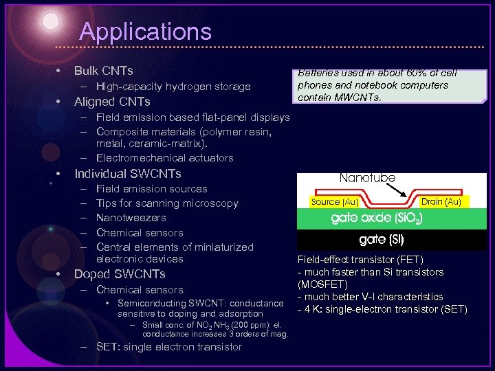 Applications • Bulk CNTs – High-capacity hydrogen storage • Aligned CNTs Batteries used in