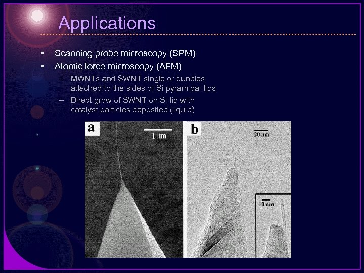 Applications • • Scanning probe microscopy (SPM) Atomic force microscopy (AFM) – MWNTs and