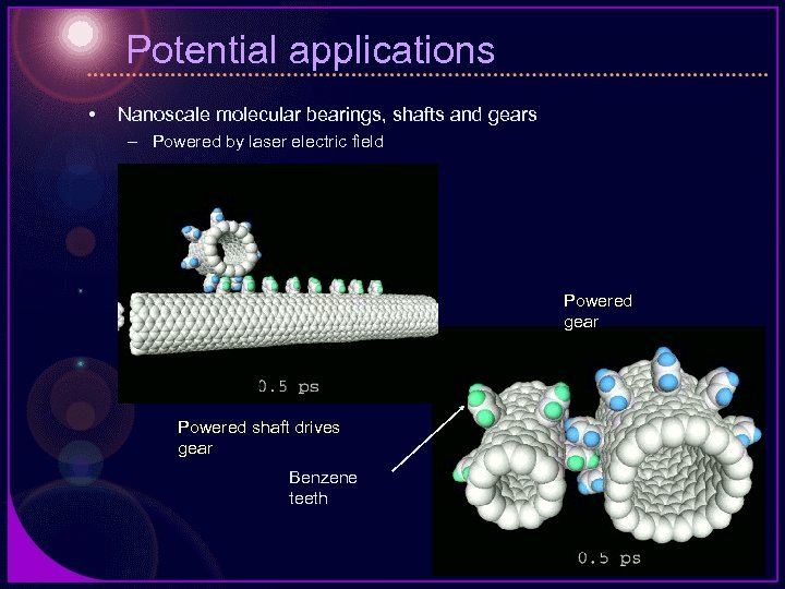 Potential applications • Nanoscale molecular bearings, shafts and gears – Powered by laser electric