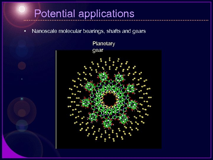 Potential applications • Nanoscale molecular bearings, shafts and gears Planetary gear
