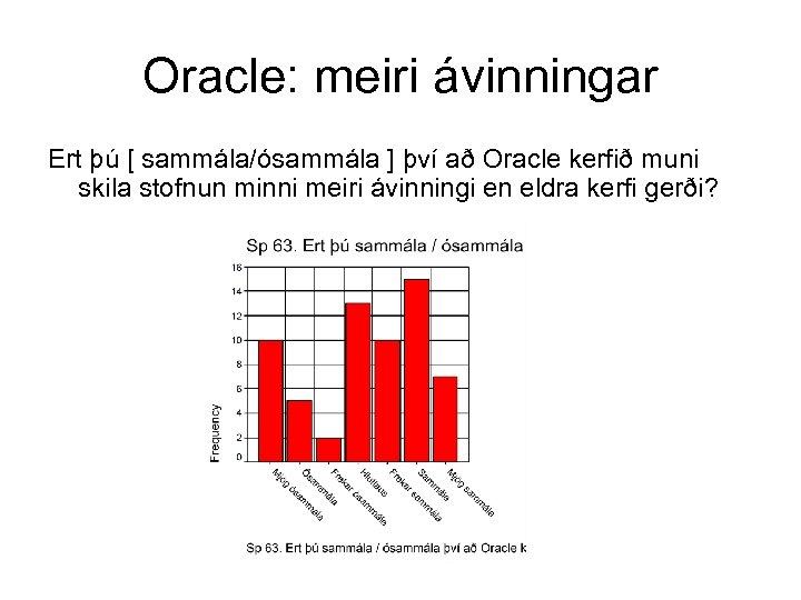 Oracle: meiri ávinningar Ert þú [ sammála/ósammála ] því að Oracle kerfið muni skila
