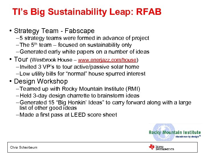 TI's Big Sustainability Leap: RFAB • Strategy Team - Fabscape – 5 strategy teams