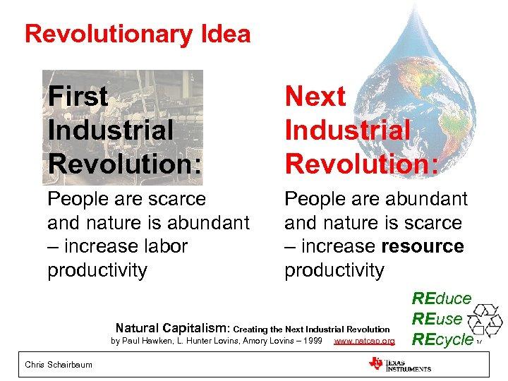 Revolutionary Idea First Industrial Revolution: Next Industrial Revolution: People are scarce and nature is