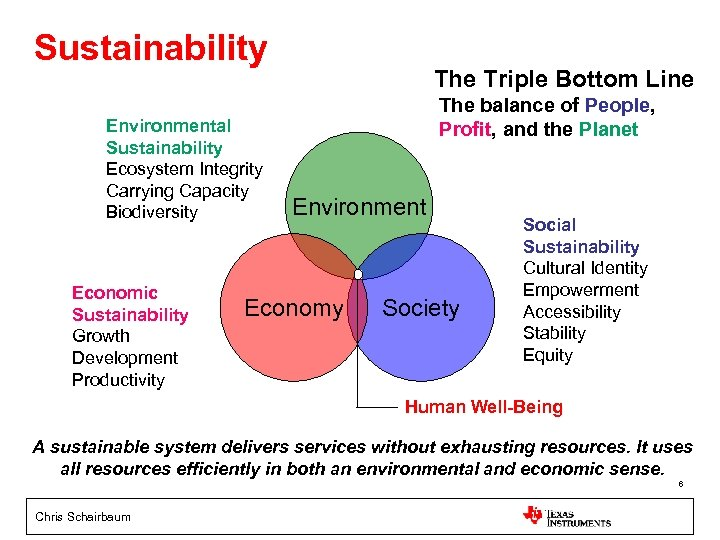 Sustainability Environmental Sustainability Ecosystem Integrity Carrying Capacity Biodiversity Economic Sustainability Growth Development Productivity The