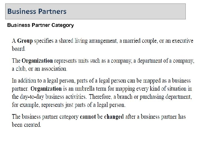 Business Partners Business Partner Category
