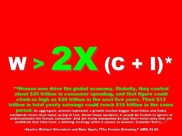 "W> 2 X (C + I)* *""Women now drive the global economy. Globally, they"