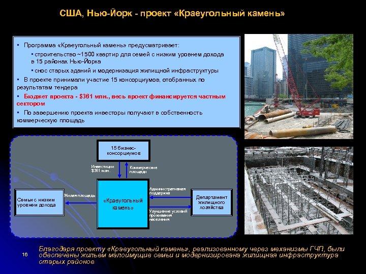 США, Нью-Йорк - проект «Краеугольный камень» • Программа «Краеугольный камень» предусматривает: • строительство ~1500