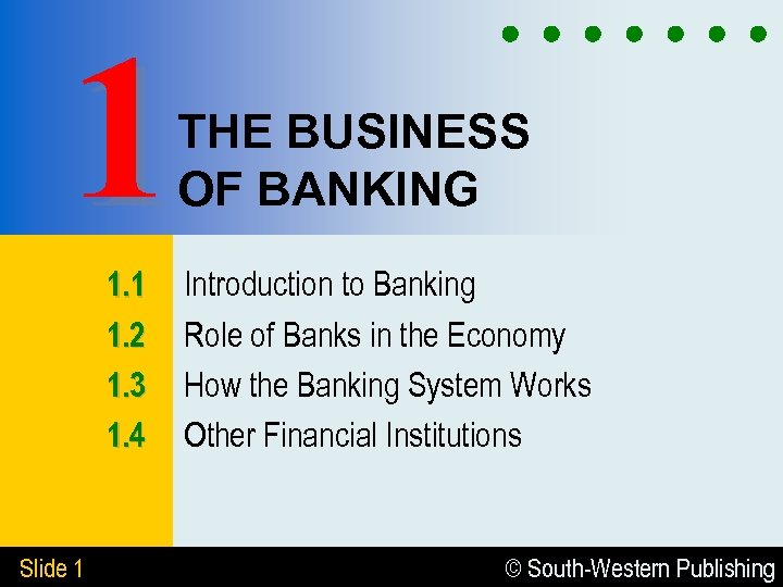 1 THE BUSINESS OF BANKING 1. 1 1. 2 1. 3 1. 4 Slide