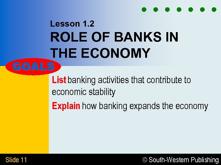Lesson 1. 2 ROLE OF BANKS IN THE ECONOMY GOALS List banking activities that