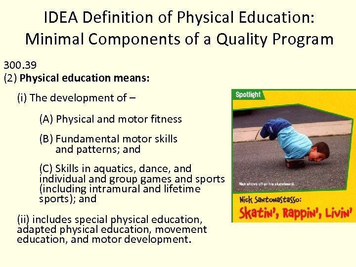 IDEA Definition of Physical Education: Minimal Components of a Quality Program 300. 39 (2)