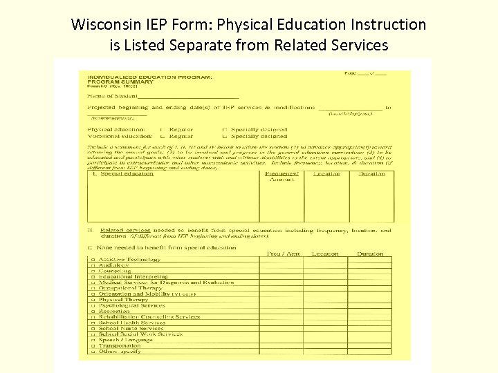 Wisconsin IEP Form: Physical Education Instruction is Listed Separate from Related Services
