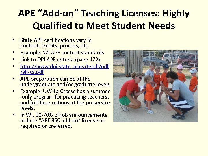 """APE """"Add-on"""" Teaching Licenses: Highly Qualified to Meet Student Needs • State APE certifications"""