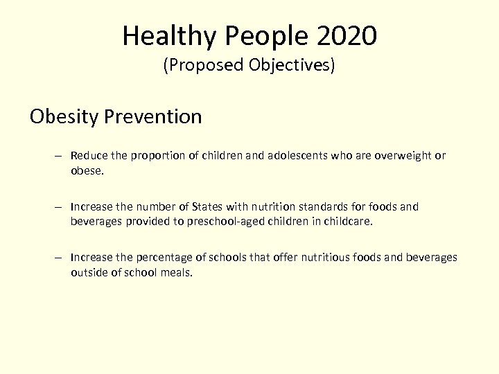 Healthy People 2020 (Proposed Objectives) Obesity Prevention – Reduce the proportion of children and