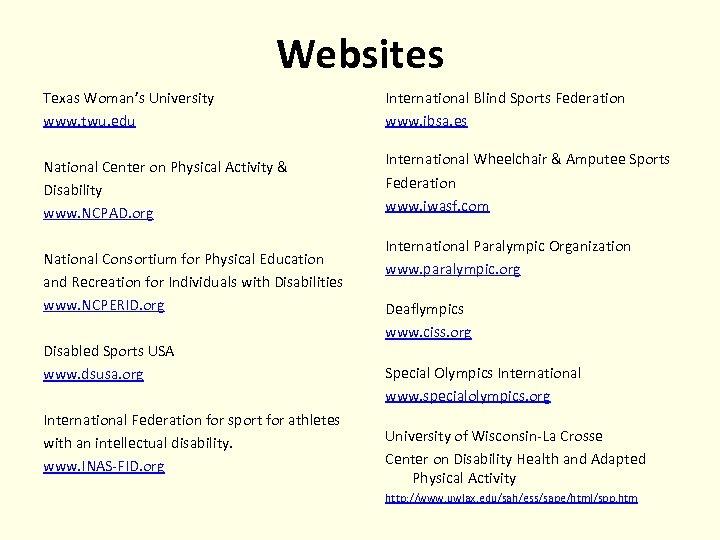 Websites Texas Woman's University www. twu. edu International Blind Sports Federation www. ibsa. es