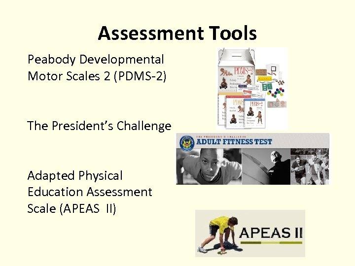 Assessment Tools Peabody Developmental Motor Scales 2 (PDMS-2) The President's Challenge Adapted Physical Education