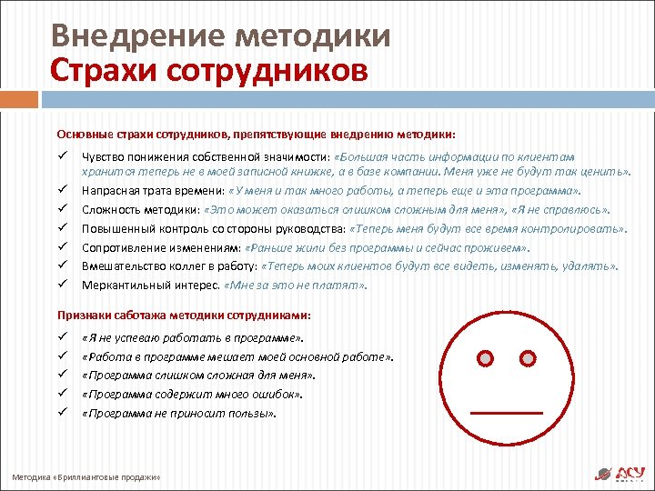 Внедрение методики Страхи сотрудников Основные страхи сотрудников, препятствующие внедрению методики: ü ü ü ü