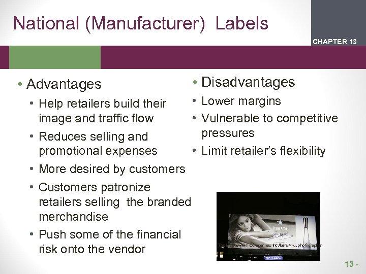 National (Manufacturer) Labels CHAPTER 2 13 1 • Advantages • Disadvantages • • Help