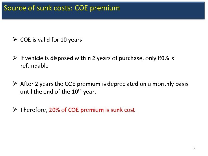 Source of sunk costs: COE premium Ø COE is valid for 10 years Ø