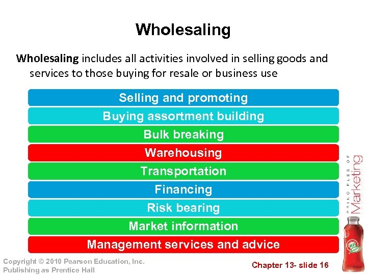 Wholesaling includes all activities involved in selling goods and services to those buying for